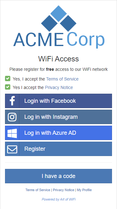 Splash page with Facebook, Instagram, and Azure AD logins