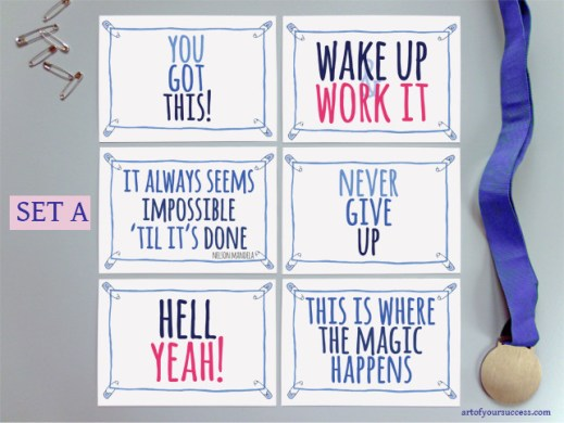 Inspirational quotes on postcards