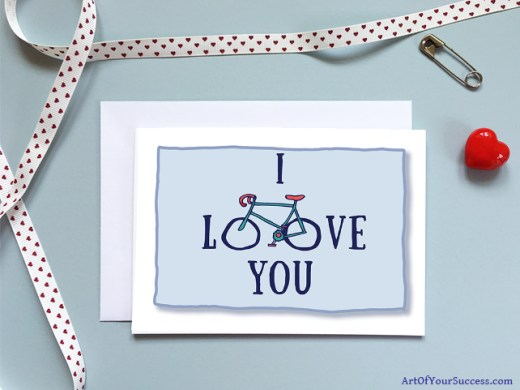 Bike cyclist Valentine Anniversary Love card