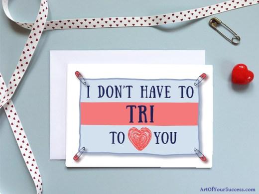 Valentine Anniversary card for triathlon