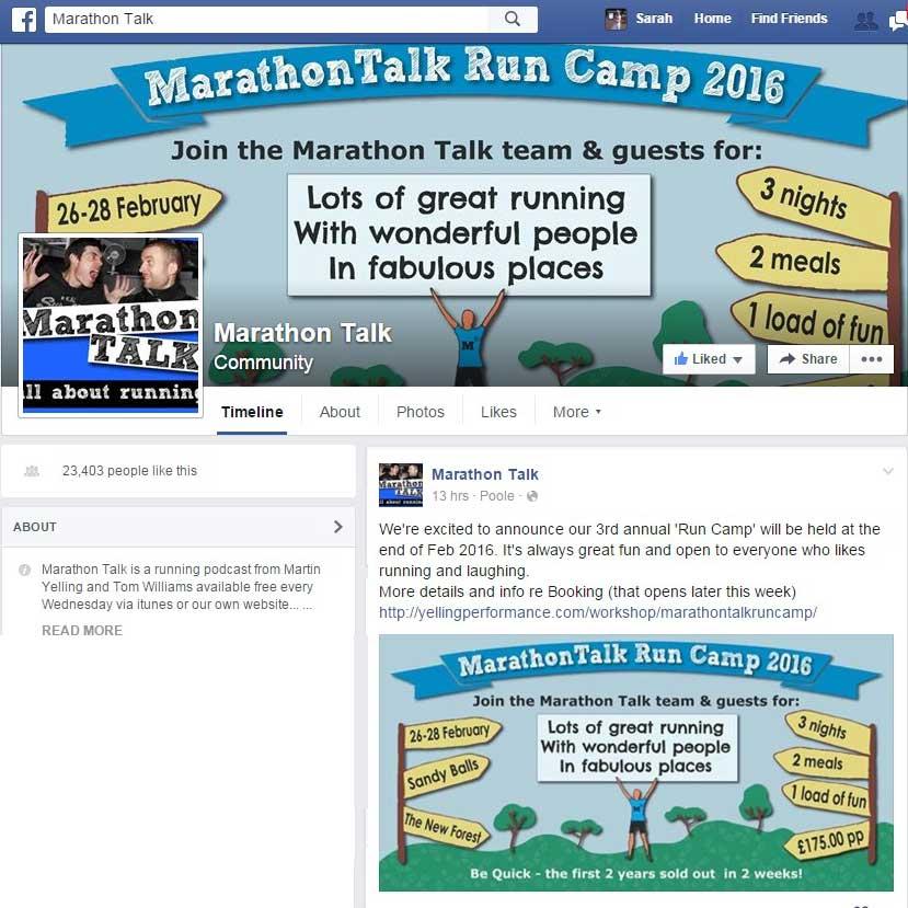 Run Camp flyer for MarathonTalk