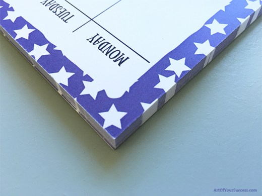 A5 weekly planner stars detail