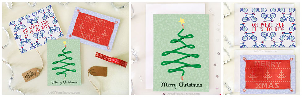Bike Christmas Card, card for runner, card for triathlete, triathlon card, runner Xmas card, card for cyclist