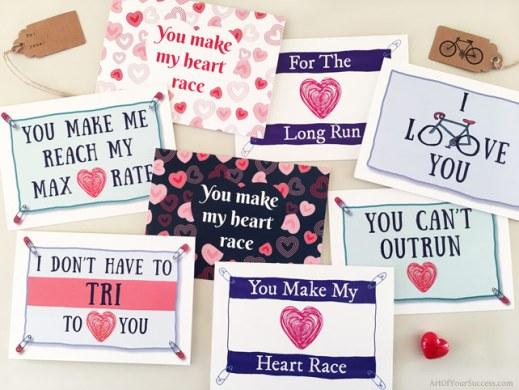 Valentines Cards for run bike tri