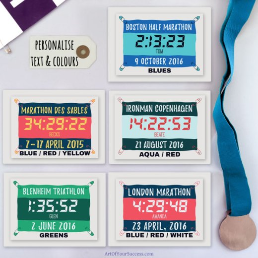 Finish time cards for runners triathletes