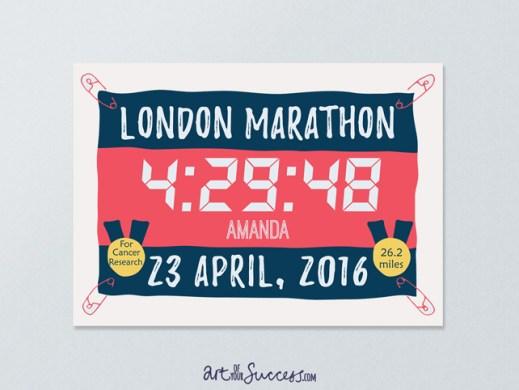 Marathon time personalised print