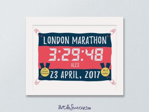 personalised time marathon print