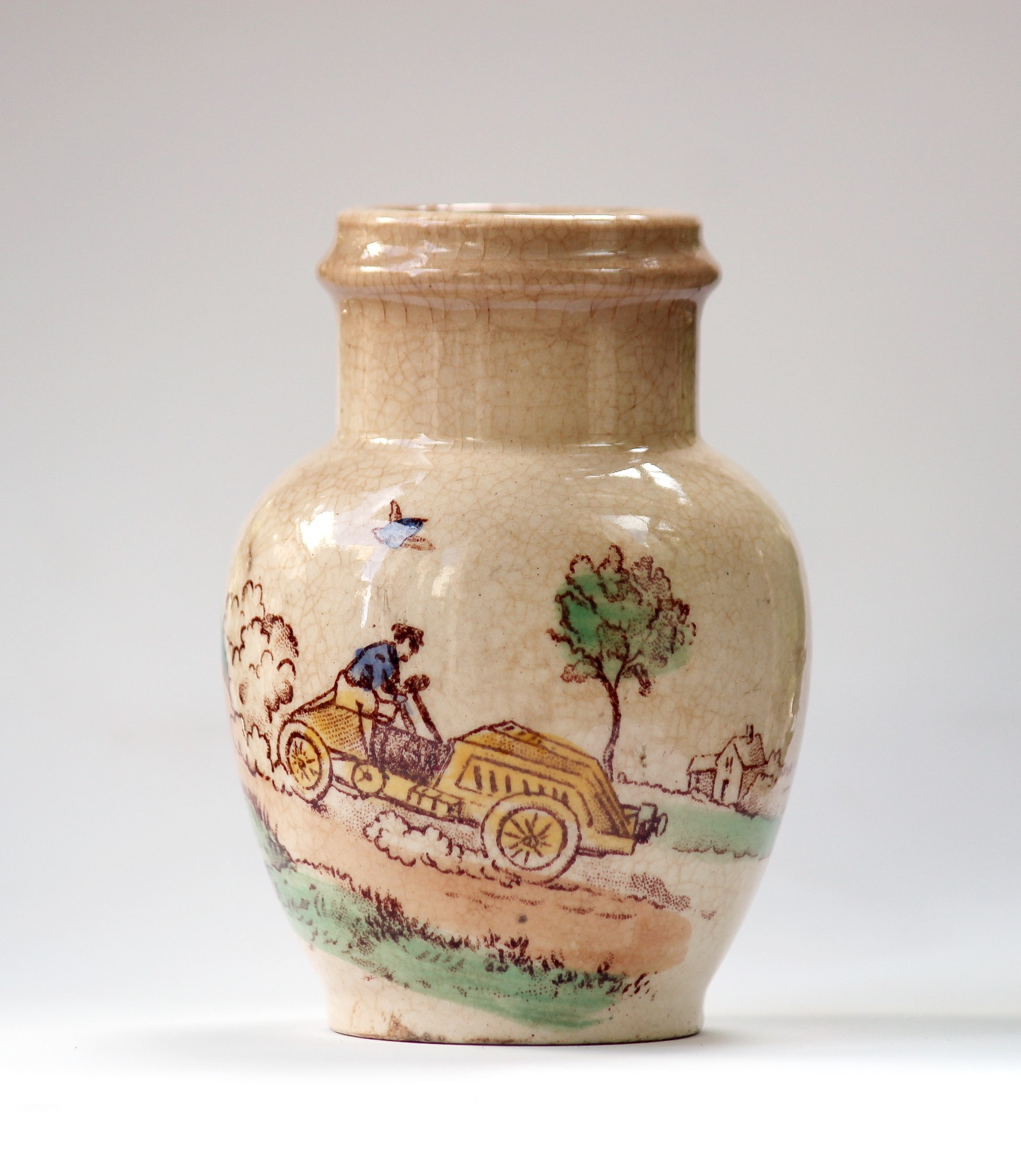 c.1900 Mustard Pot with motoring scene by Gien