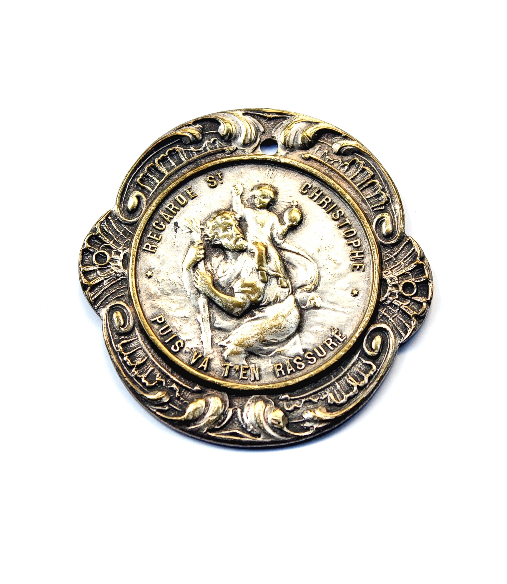 Highly elaborated bronze Saint Christopher for sale