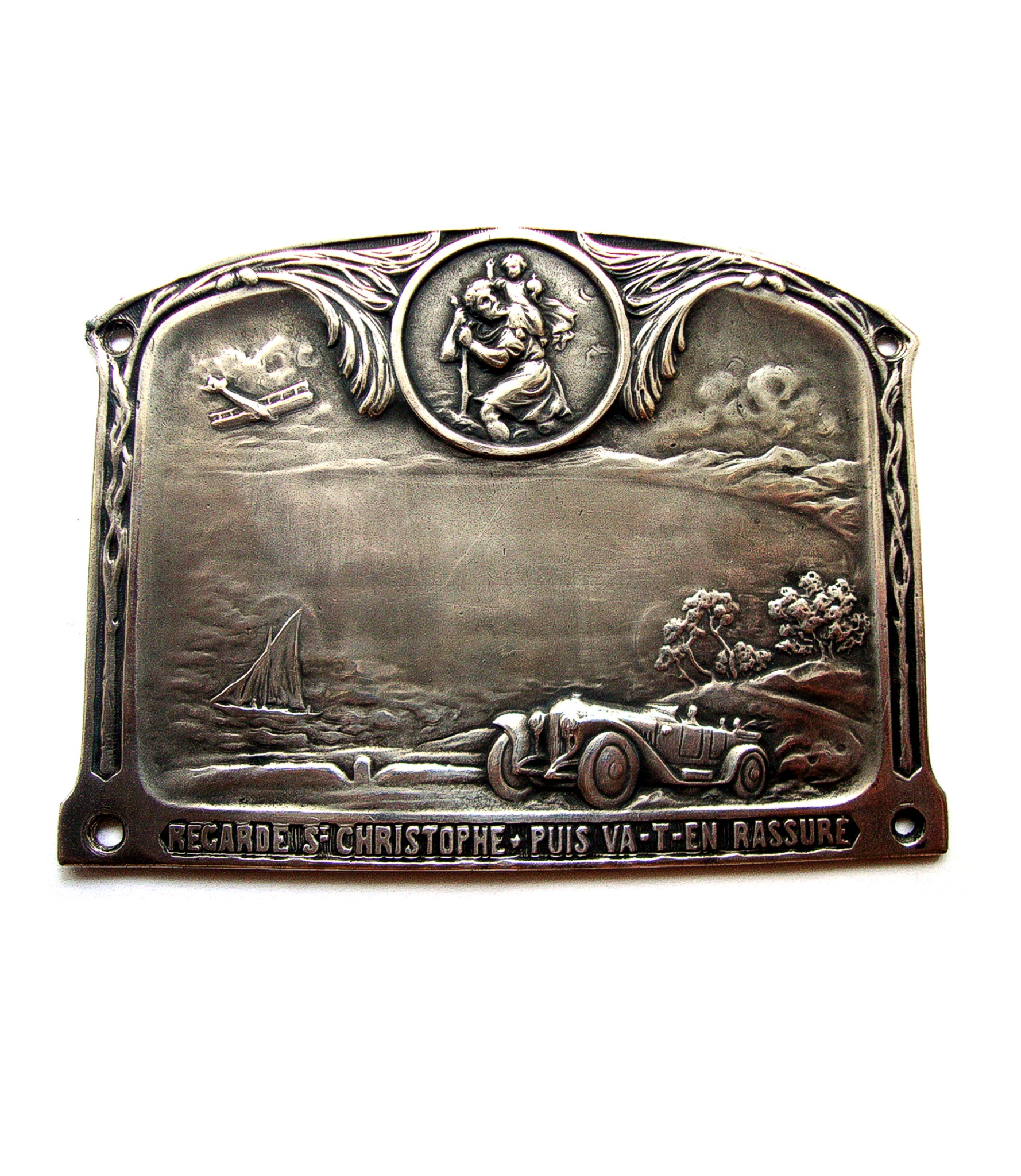 Huge St.Christopher dashboard plaque with transport vehicles engraved