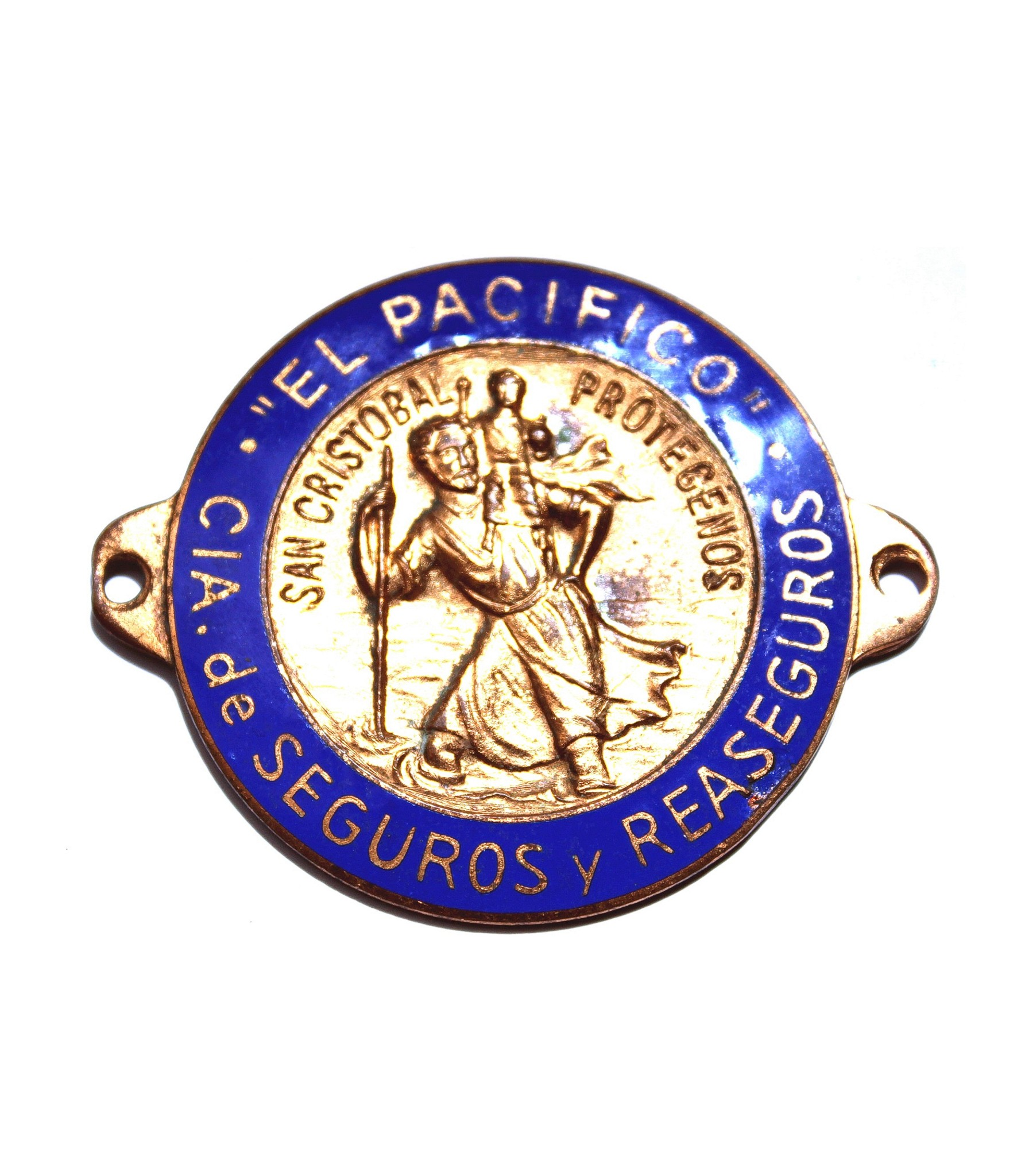 El Pacífico Enamel Saint Christopher Badge