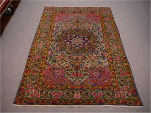 Antique Persian Rug Kerman Kirman Green Pink Gold Blue