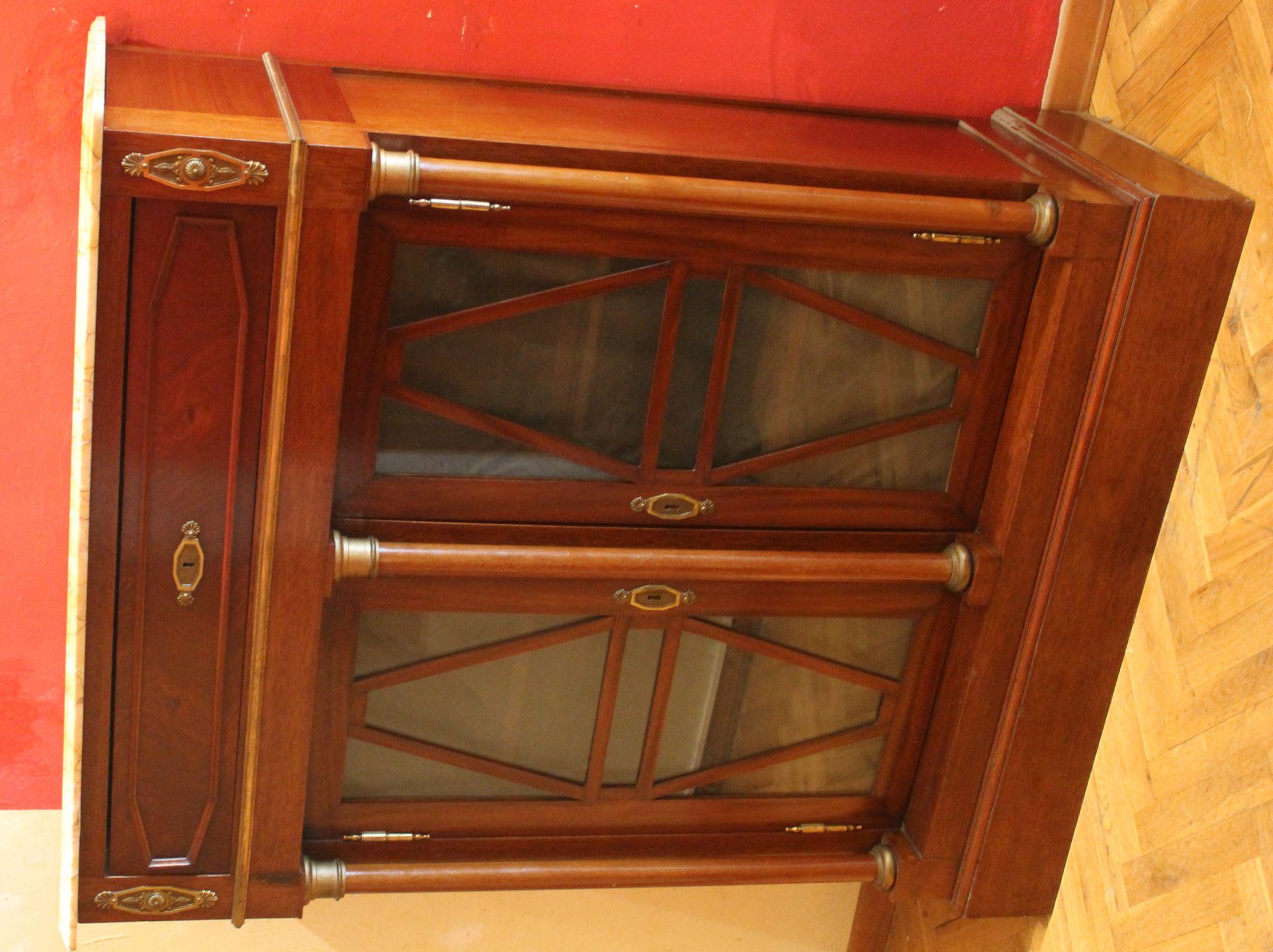 19th Century Mahogany Bookcase Or Vitrine Cabinet With