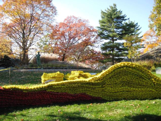 Yellow and red sections in progress, during installation of Red, Yellow and Blue by Orly Genger at deCordova Sculpture Park