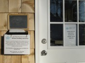 Message board and statement of artist's goals for residency