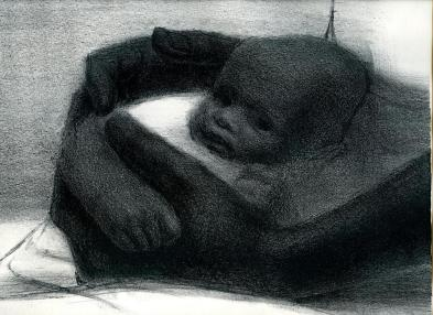"""Detail of """"Father and Child,"""" a 1964 lithograph by John Wilson"""