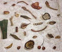 Asàrotos òikos, 'unswept floor' mosaic by Heraclitus, from the Vatican museums.ins of 1976.