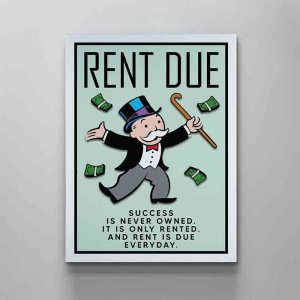 monopoly rent due canvas art by artoxic
