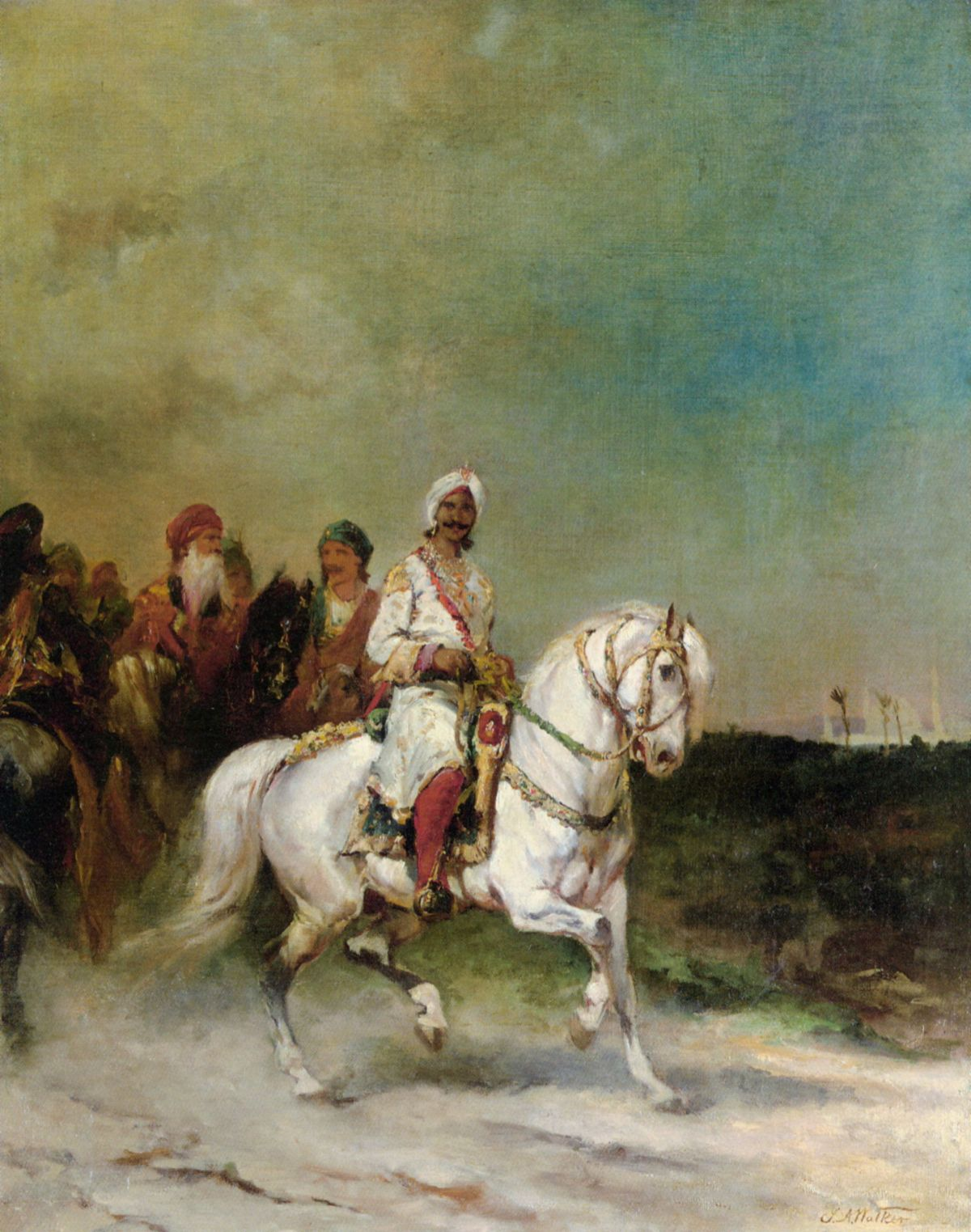 A Maharaja on a White Horse by James Alexander Walker-Oil Painting