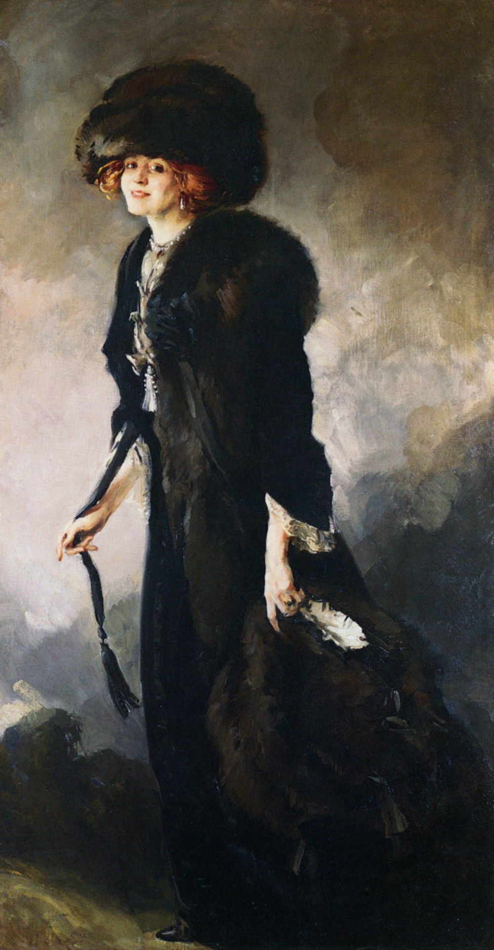 A Portrait Of Ruby Miller by James Jebusa Shannon-Portrait Painting