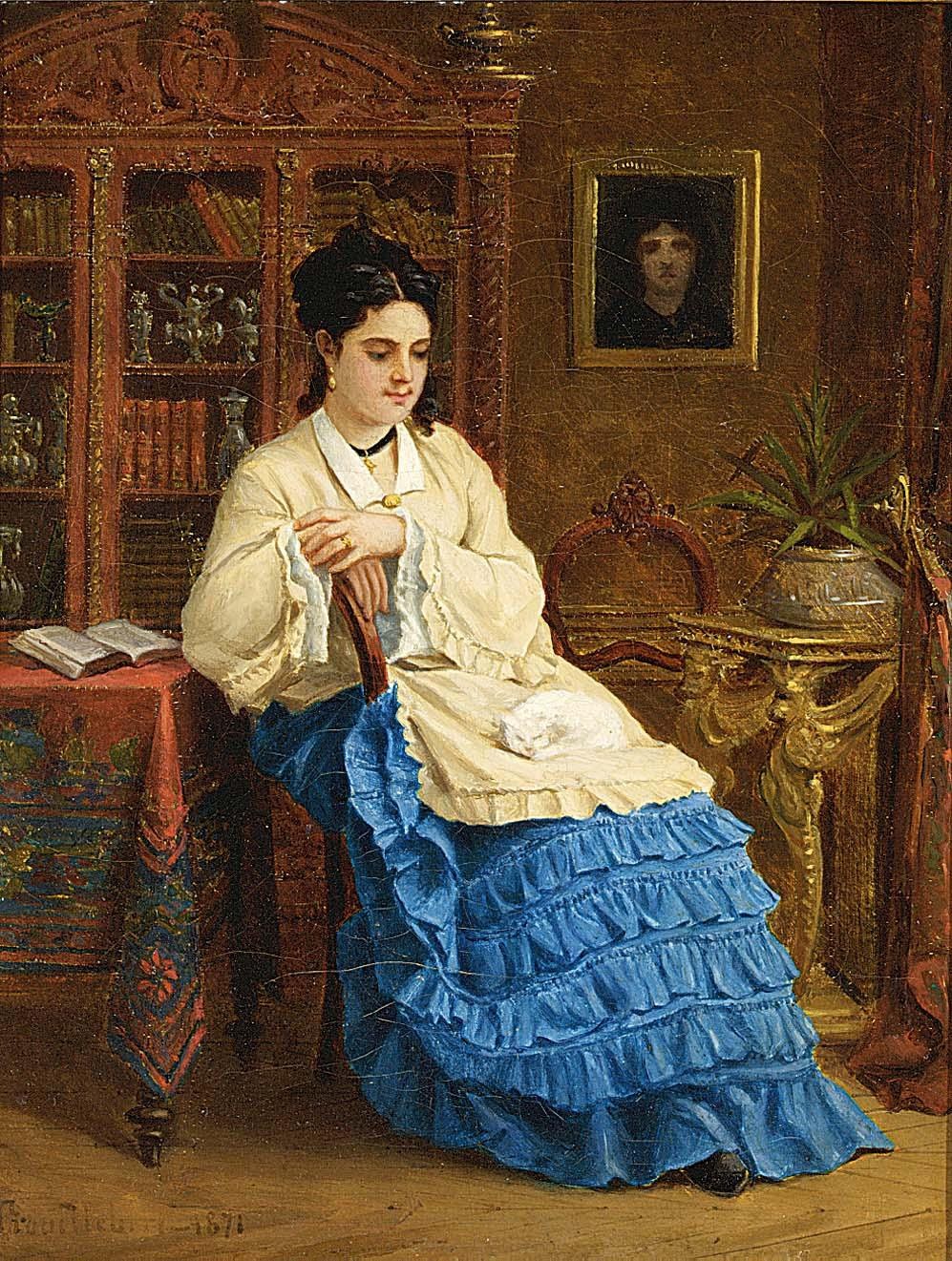 Femme en robe bleue revant by Paul Desire Trouillebert-French Painting