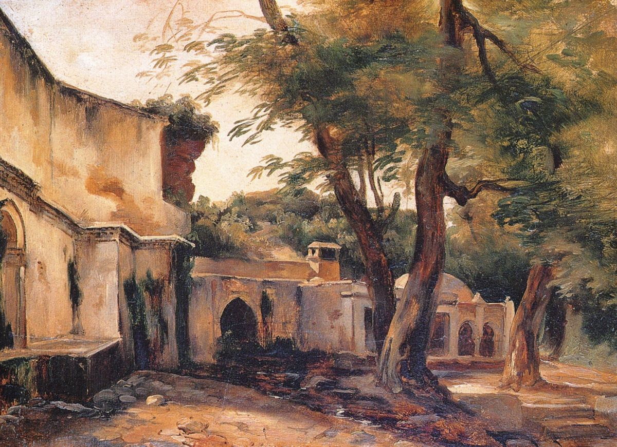 Fountain near Algiers by Jean Charles Langlois-Genre Painting