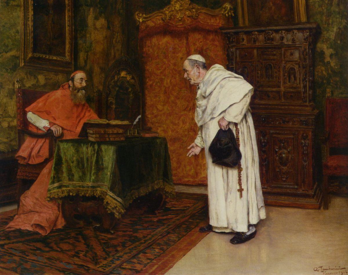 The Visit by Arnaldo Tamburini-Oil Painting