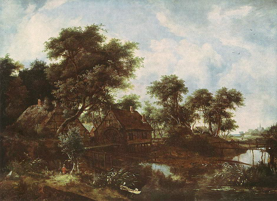 The Watermill by Meindert Hobbema