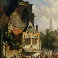 A Busy Market in a Dutch Town by Adrianus Eversen