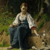 A Young Girl feeding Baby Chicks by Francois Alfred Delobbe