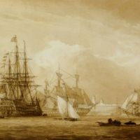MHS Victory and other ships in Portsmouth dockyard by John Christian Schetky