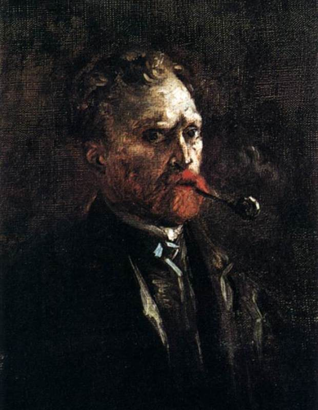 Self-Portrait with Pipe (2) by Vincent Van Gogh