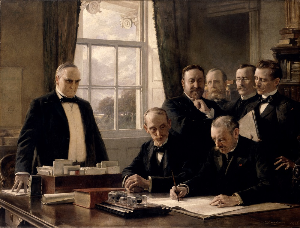 The Signing of the Protocol of Peace Between the United States and Spain on August 12 1898 by Theobald Chartran