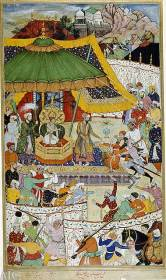 The court of young Akbar by Basavan