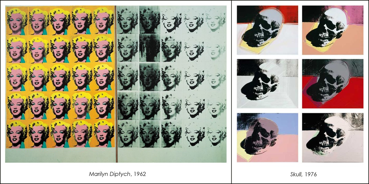 Marilyn Diptych and Skull by Andy Warhol