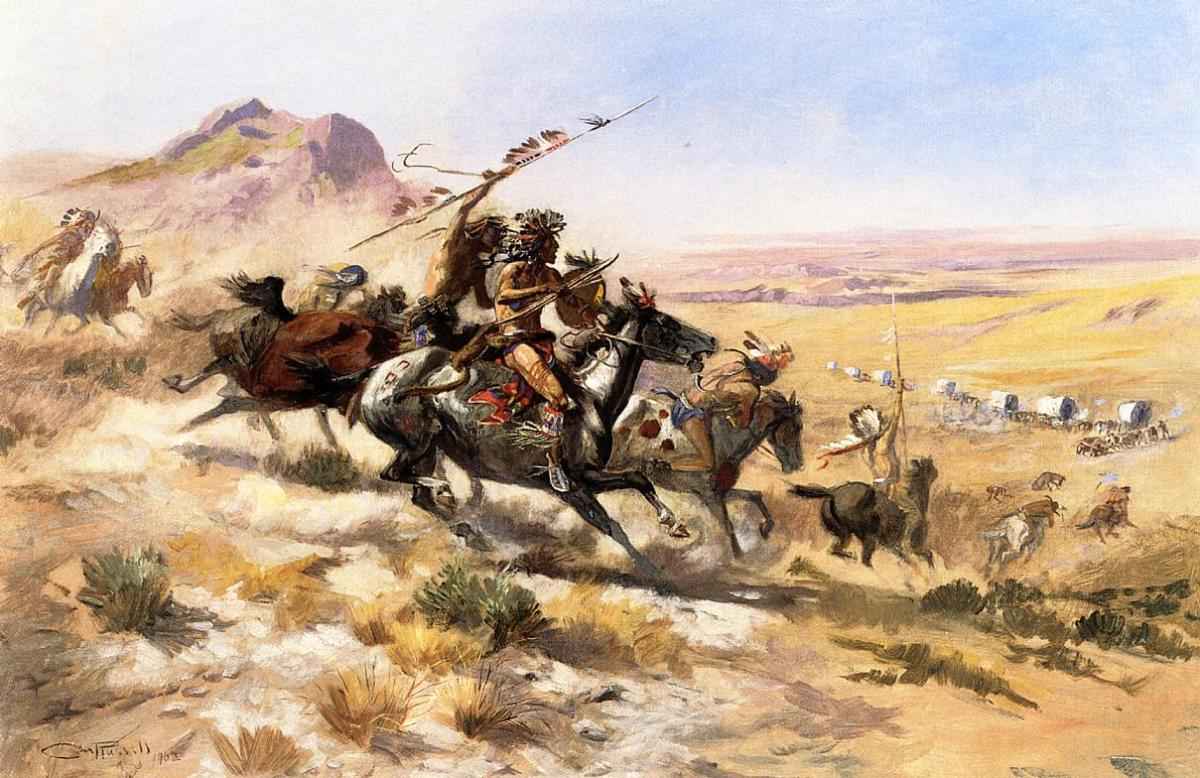 Attack on a Wagon Train by Charles Marion Russell