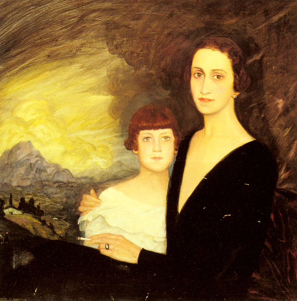 Mother and Daughter by Ramon De Zubiaurre