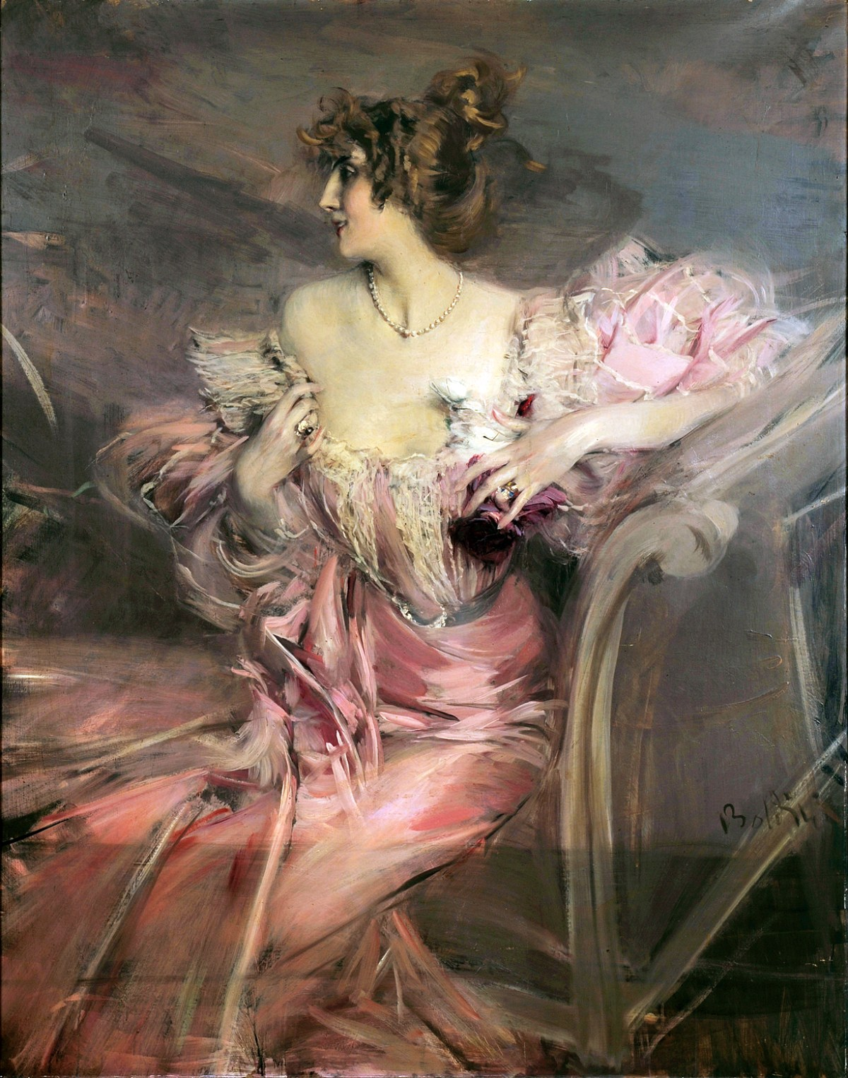 Lady in Pink Dress by Giovanni Boldini