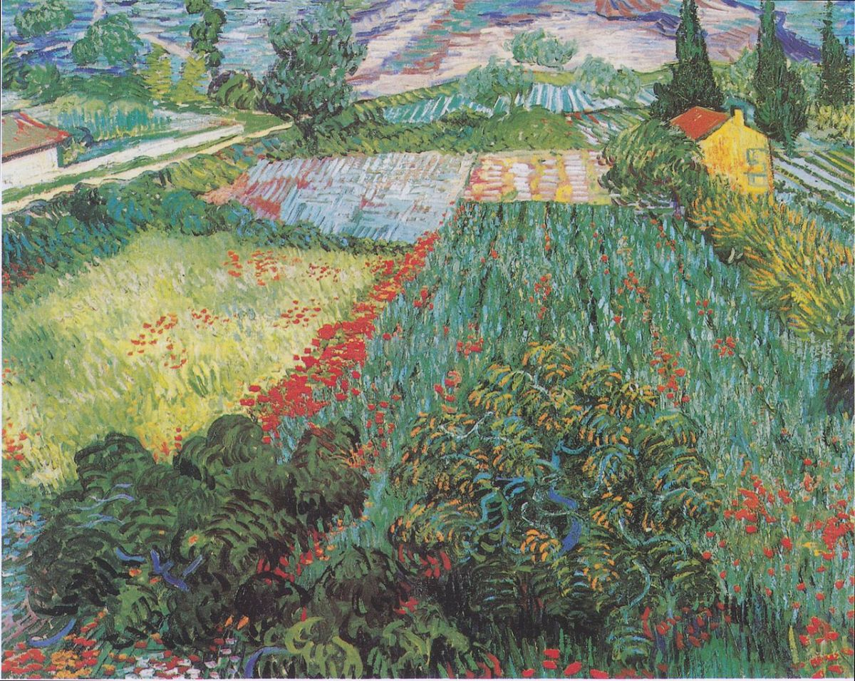 Field with Poppies by Vincent van Gogh-Landscape Painting