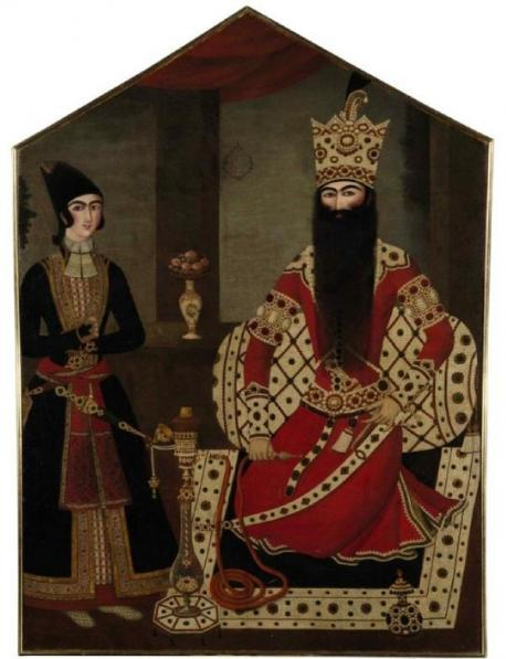 Qajar royal portrait of Fath 'Ali Shah attended by a prince attributed to Mihr 'Ali, Persia, circa 1820