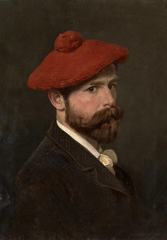 Self-portrait by Alexander Bogdanovich Villevalde-Portrait Painting