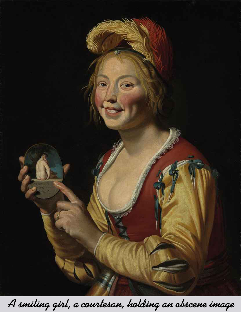 A smiling girl a courtesan, holding an obscene image by Gerrit van Honthorst