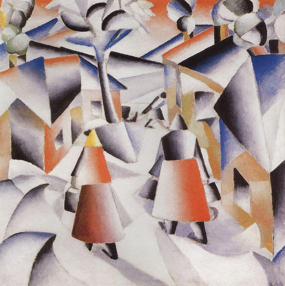 Morning in the Village after Snowstorm by Kazimir Malevich