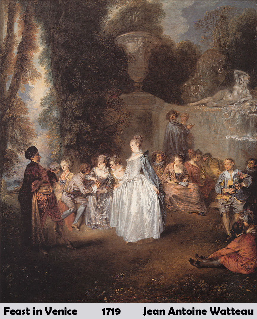 Feast in Venice by Jean Antoine Watteau-French Painting