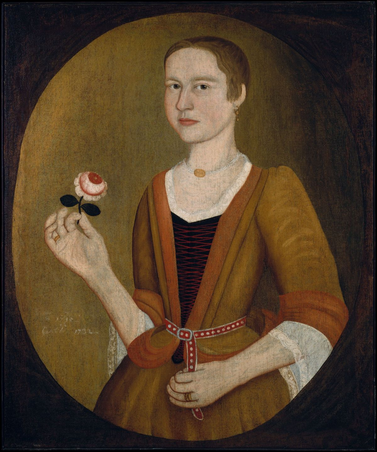 Young Lady with a Rose by Pieter Vanderlyn
