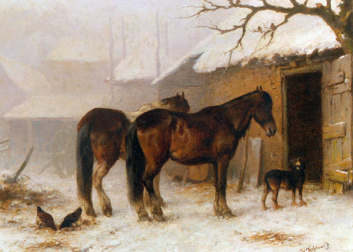 Horses in a Snow Covered Farm Yard by Wouterus Verschuur Jr.