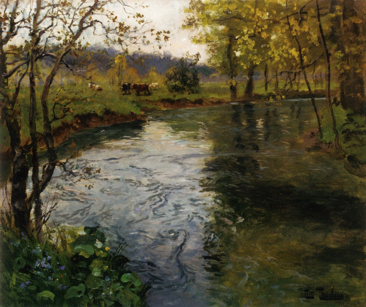 Landscape with Cows by a Stream by Fritz Thaulow