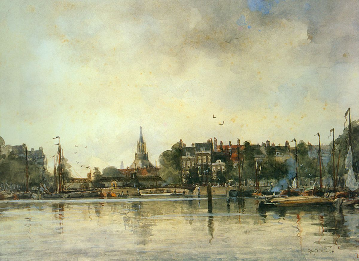 A Townview with Moored Vessels along a Quay by Johan Hendrik Van Mastenbroek