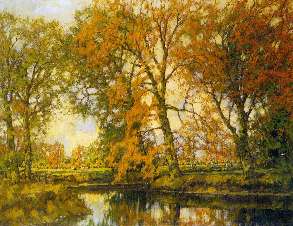 An Autumn Landscape with Cows Near a Stream by Arnold Marc Gorter