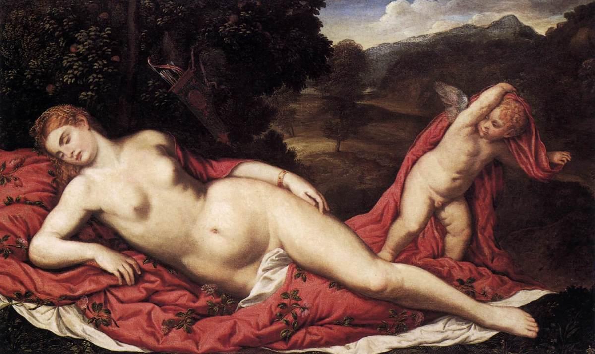 Sleeping Venus with Cupid by Paris Bordone